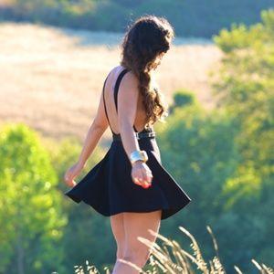 American Apparel Ponte skater black mini dress